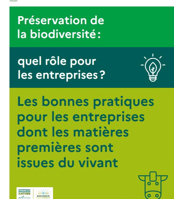 """MINISTÈRE DE LA TRANSITION ÉCOLOGIQUE (2020), """"Recueil bonnes pratiques pour les entreprises dont les matières premières sont issues du vivant"""""""